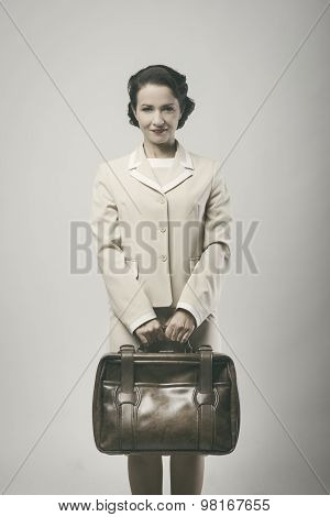 Smiling Vintage Businesswoman