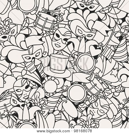 Carnival show seamless pattern with doodle icons and objects