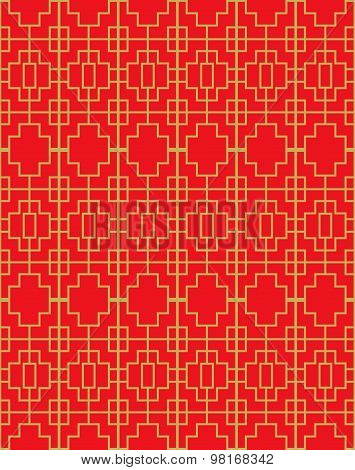 Golden seamless vintage Chinese window tracery square geometry line pattern background.