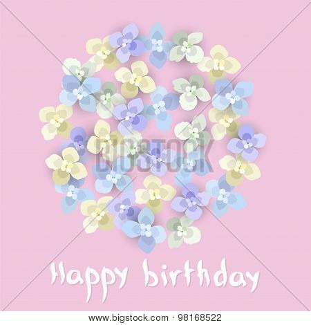 Vector Birthday Greeting Card With Floral Ornament