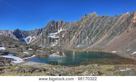 Beautiful Lake At The Foot Of The Mountain Range