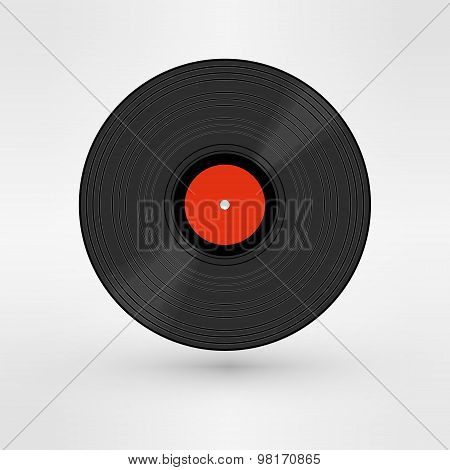 Old, retro black record, LP, eps10 vector art image. isolated on white background