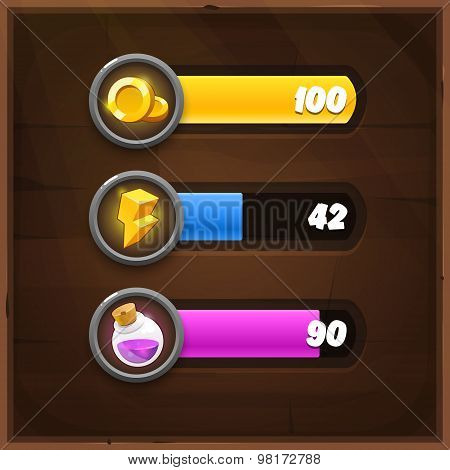 Game Resources Icons with Progress Bars