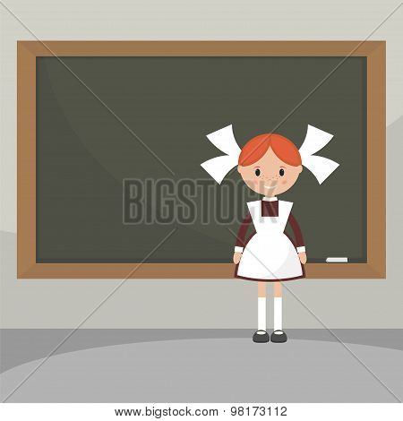 Schoolgirl  Near The School Board.