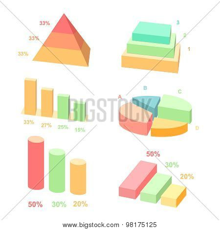 Isometric 3d vector charts.  layers graphs and pyramid diagram. Infographic presentation, design dat