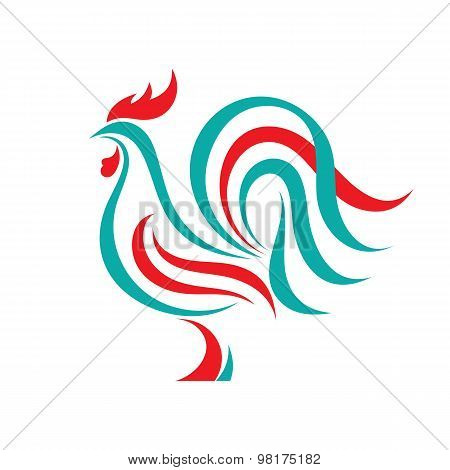 Rooster vector logo concept in line style. Bird cock abstract illustration. Cock logo.