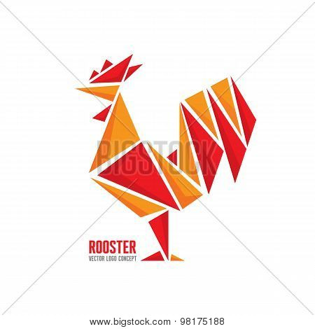 Rooster vector logo concept. Bird cock abstract geometric illustration. Cock logo.
