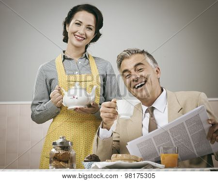 1950S Style Couple Having Breakfast