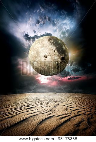 Fool moon in desert