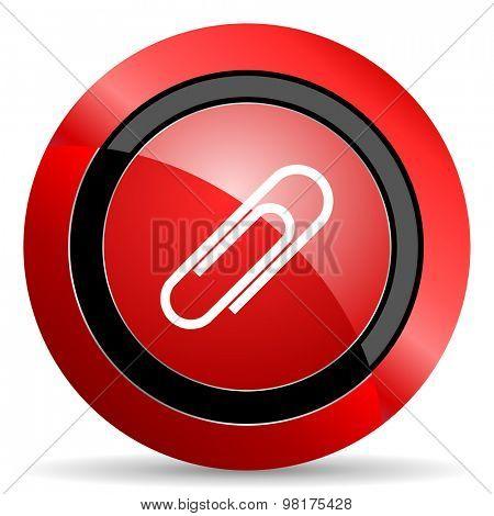 paperclip red glossy web icon