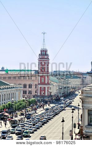 The Historic Buildings And Central Road On Nevsky Prospect - Panorama From Height