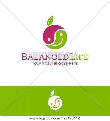 logo design of happy face yin yang fruit for healthy lifestyle related organization