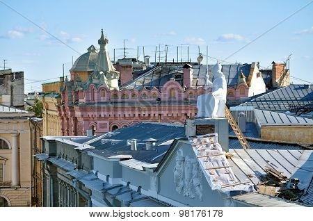 The Roof Of The Housing Of Rossi In National Library Of Russia And Sculpture Of Minerva - The Goddes