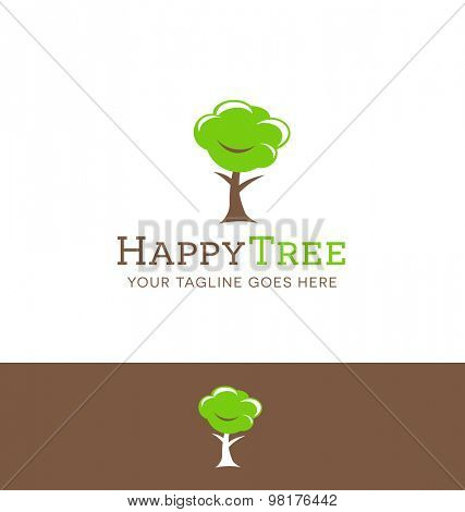 logo design of a happy tree character