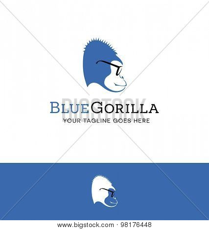 Logo design of a blue gorilla wearing glasses