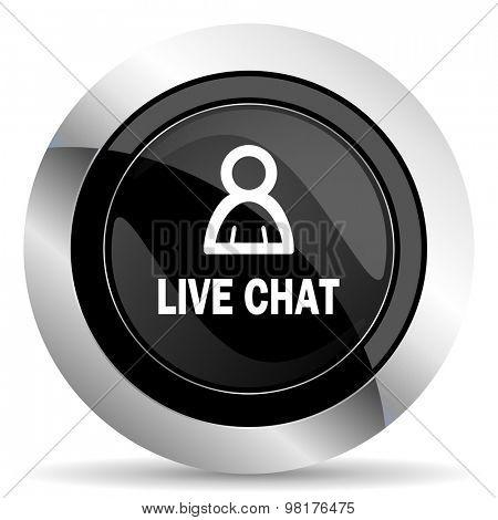 live chat icon, black chrome button