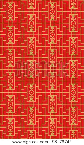 Golden seamless Vintage Chinese style window tracery square geometry flower pattern background.