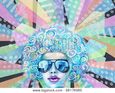 Disco Club Girl In Sunglasses. Pop Art Design. Party Invitation.
