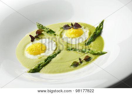 Appetizer Dish Of Asparagus Pureed Quail Eggs