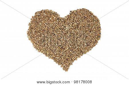 Hemp Seeds In A Heart Shape