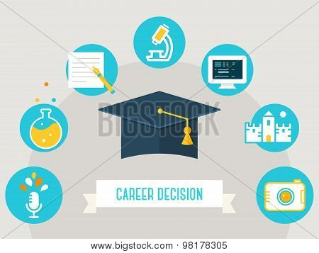 Academic Hat Surrounded by Education Icons. Career Decision Sign