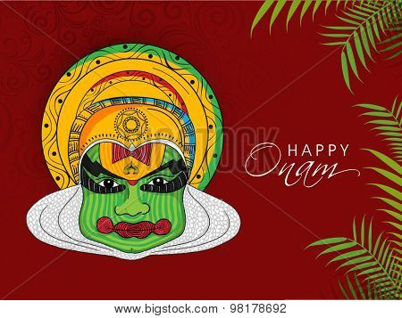 Illustration of Kathakali dancer for South Indian festival, Happy Onam celebration.