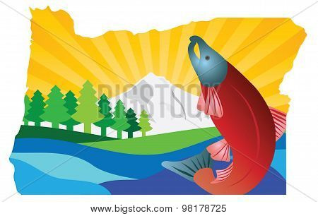 Scenic State Of Oregon Map Outline Vector Illustration