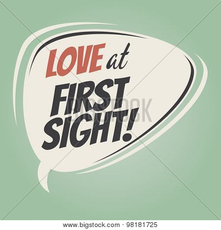 love at first sight retro speech balloon