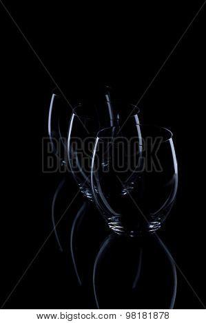 Three Glasses On Black Background
