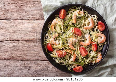 Zucchini Pasta With Shrimp And Tomato Closeup. Horizontal Top View
