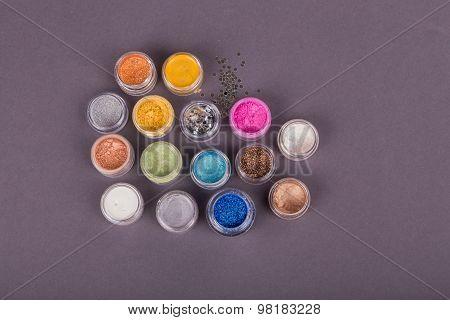 Multicolored glitters.