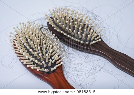Hair Loss Problem On Bruch, On White Background