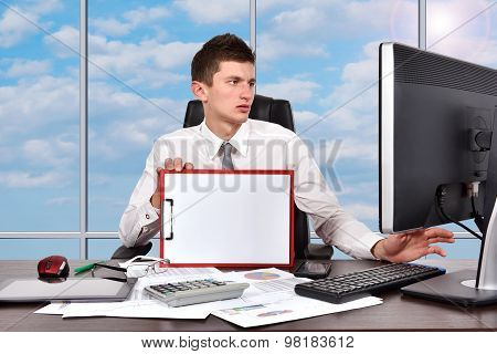 Businessman With Blank Clipboard