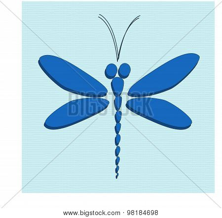Blue vector dragonfly on the light blue background