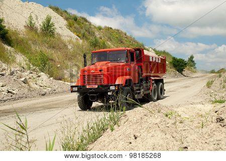 Red dump truck Kraz-65032