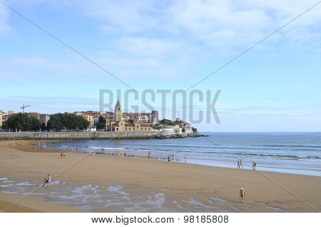 Gijon Beach In Spain