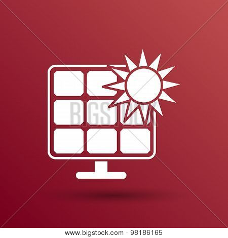 Solar energy panel icon vector sun power