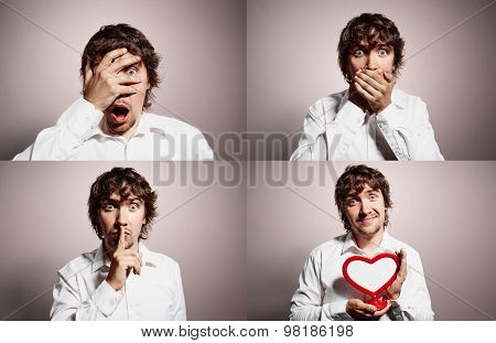 Group Collage Of Portrait Handsome Young Business Man At Background. Positive And Negative Human Emo