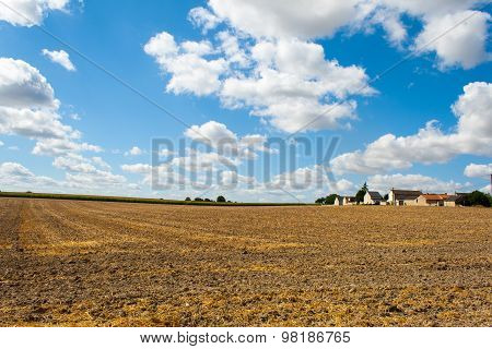 Landscape Mown Grain Field In France, The Loire Valley