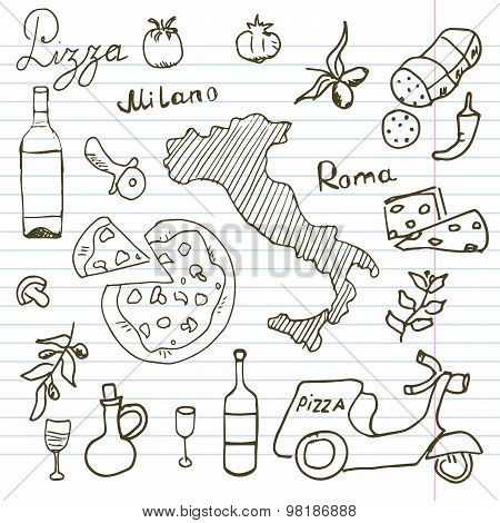 Italy Doodles Elements. Hand Drawn Set With Pizza Scooter, Wine, Cheese And Map. Drawing Doodle Coll