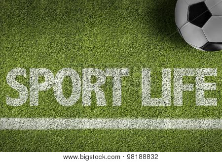 Soccer field with the text: Sport Life