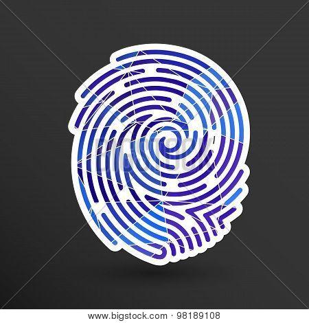 Fingerprint icon finger print vector id theft macro stamp