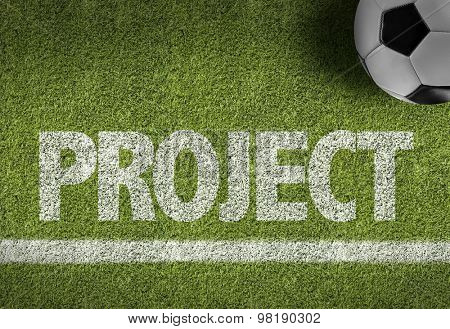 Soccer field with the text: Project