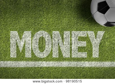 Soccer field with the text: Money
