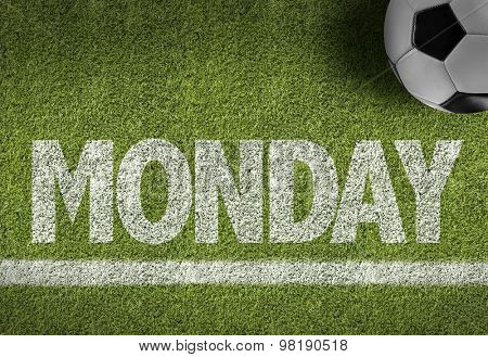 Soccer field with the text: Monday