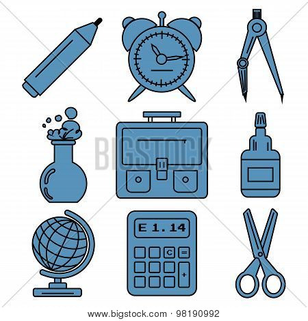 Black school goods linear icons.