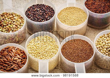 gluten free grains (quinoa, brown rice, kaniwa, amaranth, sorghum, millet, buckwheat, teff) - plastic measuring scoops on a rustic white painted barn wood