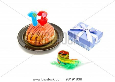 Donut With Thirteen Years Birthday Candle, Whistle And Gift