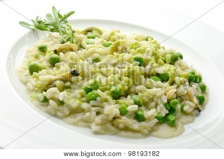 Plate Of Risotto With Clams And Peas