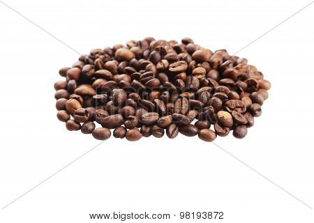 Coffee beans isolated on a white